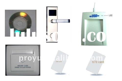 Demo Mifare 1 card hotel lock with Mifare 1 S50 card and card encoder system energy saver PY--HL kit