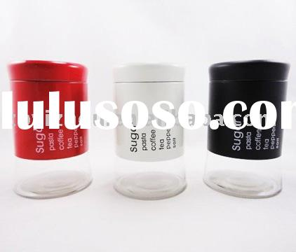 Enjoir High Quality Glass Storage Canister with Metal Casing Set 3
