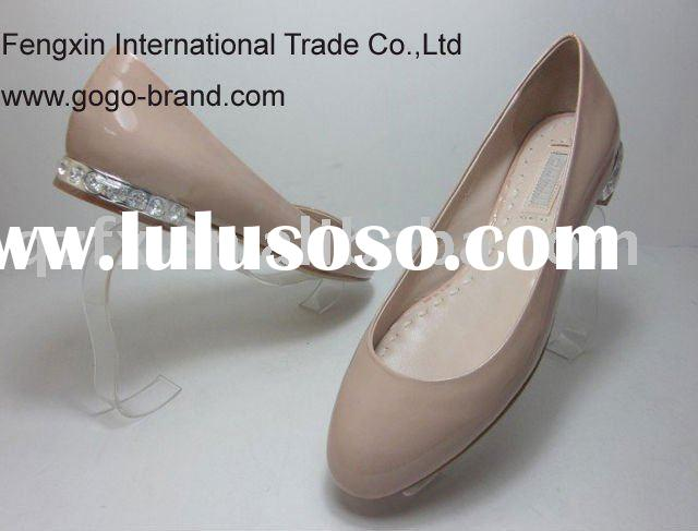 Fashion ladies shoes, nude leather flat shoes