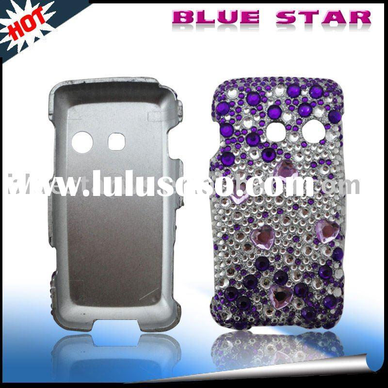For LG Rumor Touch Purple Heart Jade Rhinestone Bling Protector Cover Case