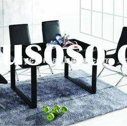 Hot sale Tempered glass dining table with stainless steel legs