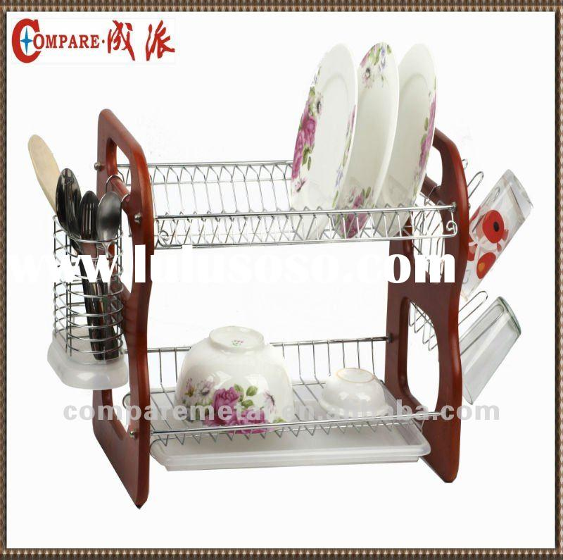 Hot selling 2 tier bamboo folding Dish rack