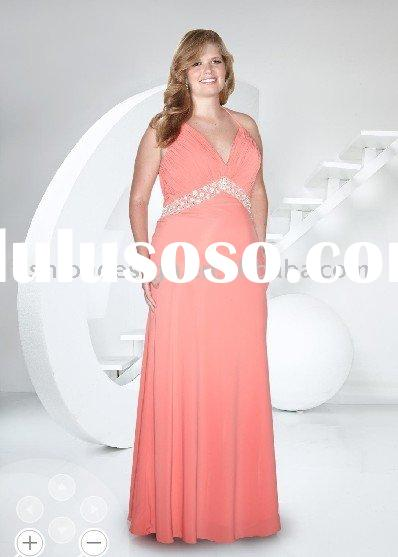 LPE006 2011 custom made plus size halter chiffon coral beaded evening dress