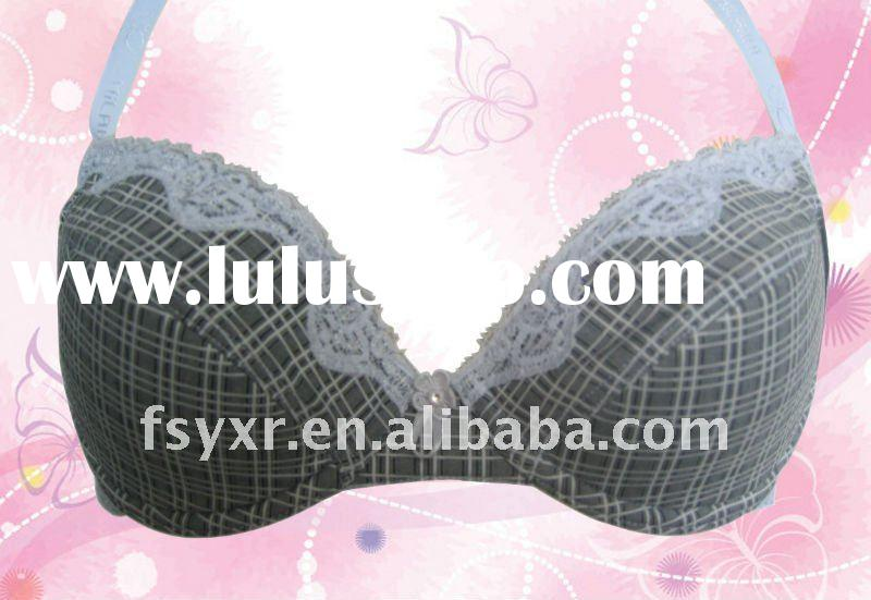 New design, Three-quarter cup grid printing and white lace charming bra
