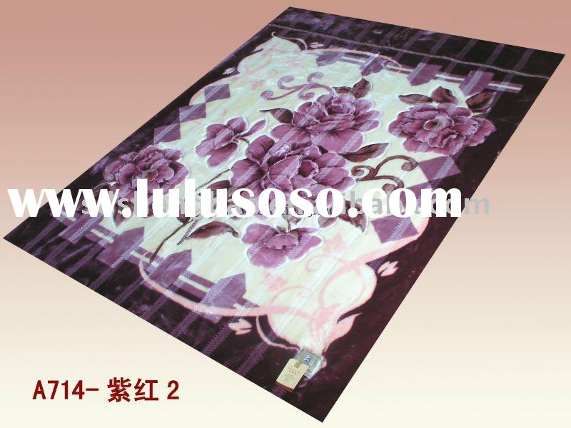 Purple red Design Mink Bedding flower 100% polyester polar printed super soft blanket