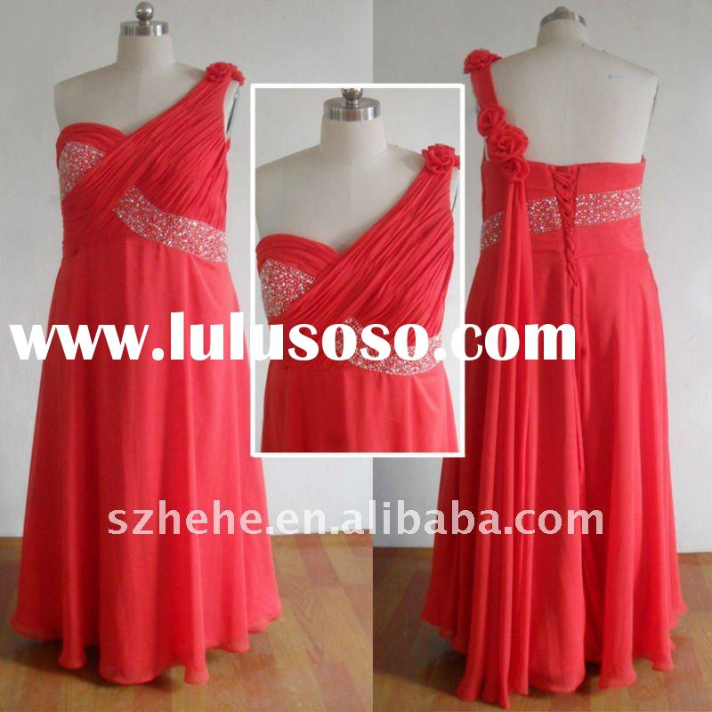 Real sample PE041 coral chiffon bandage plus size one shoulder grecian dress
