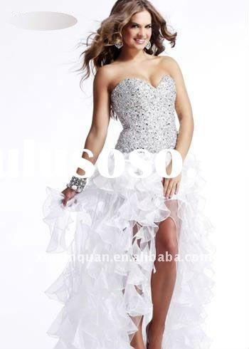SHG721 Fashion 2012 sweetheart sequins and crystal beaded front short back long ruffle skirt white l