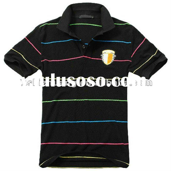 band collar short sleeve boy tee shirt with stripes pattern