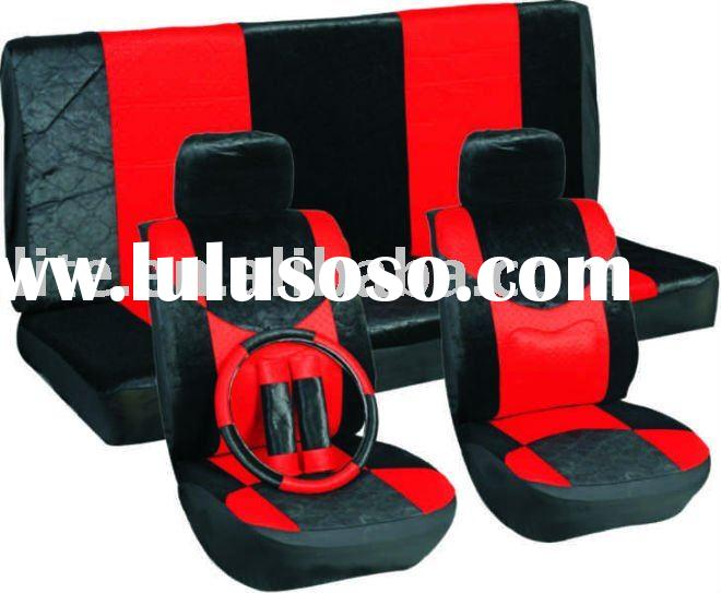car seat cover set leather bucket seats black and red