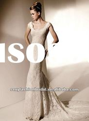 classic style boat neck short sleeves lace a line wedding dress 2012