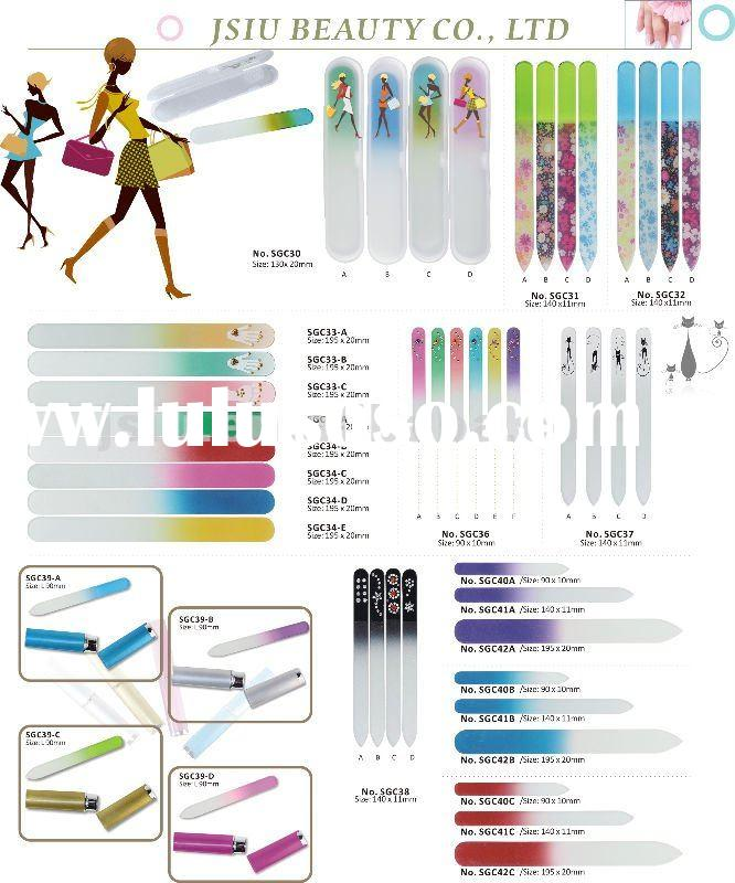 colorful crystal glass nail file