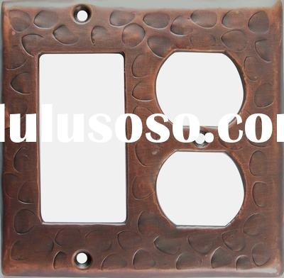 copper two gang switch plate combination
