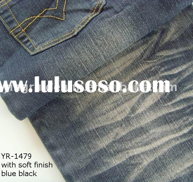 cotton polyester spandex denim fabric(blue black with soft finish), polyester denim, stretch denim
