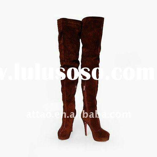 designer brown knee high boot /red sole high heel boot