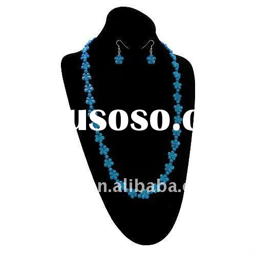 fashion cheap yellow blue flower acrylic beaded necklace and earring jewelry set.one dollar beads je