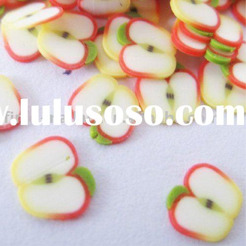 fruit polymer clay nail art slice (apple design)