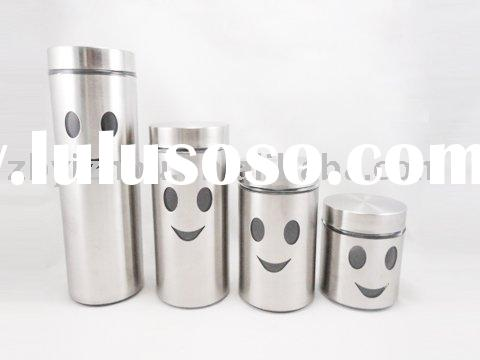 glass canister inner with stainless steel casing outer