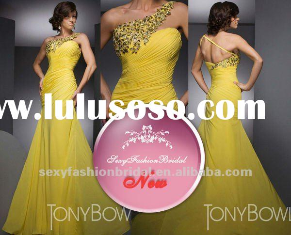 hot selling asymmetric one shoulder beads diamond accented column prom dresses