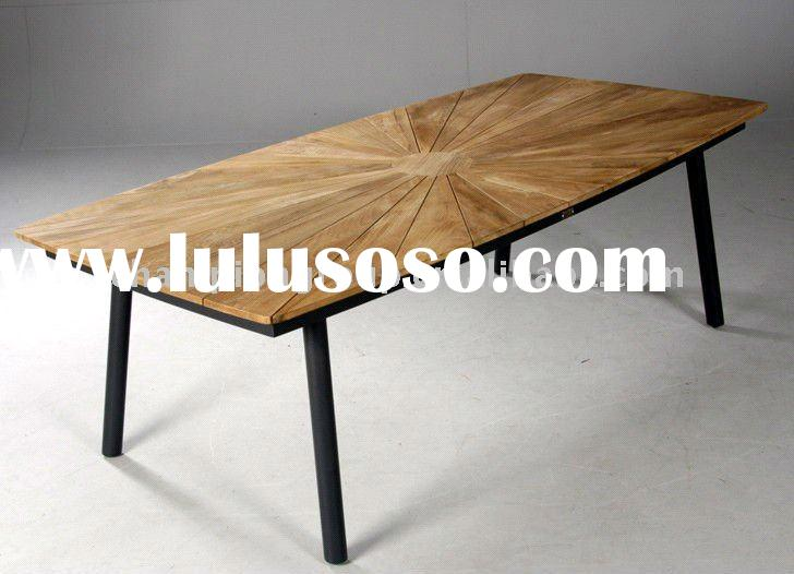 outdoor garden aluminum frame teak wood dining table AT-03