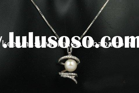 silver pearl jewelry,925 silver necklace with fresh water pearl and Cz stone,gold/rhodium/pink gold