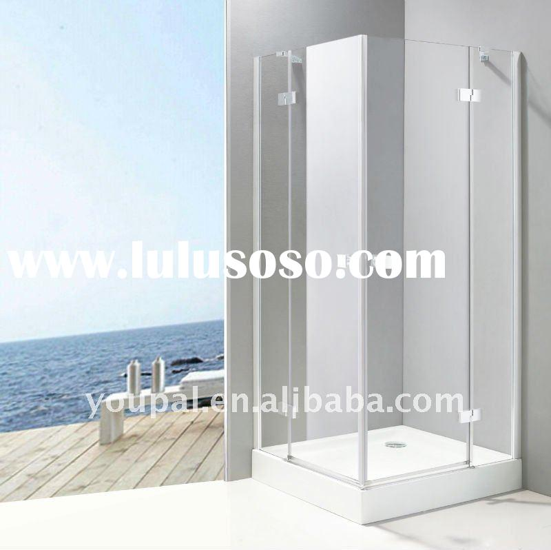 square shower cabin ,2 sides hinged door, top framed support, anti-slippery tray top, square handle