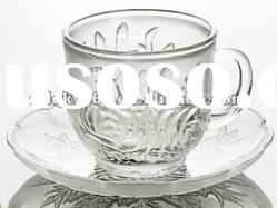 2012 coffee cup and saucer, glass coffee cup,glass cup set