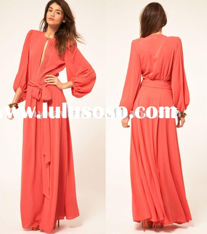 2012 fashion dress, italian apparel, long sleeve maxi dress (20256)