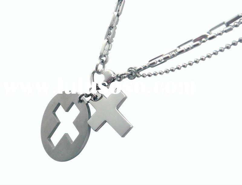 2 in 1 Cross in Middle Round Pendant with Multi Steel Chain Necklace