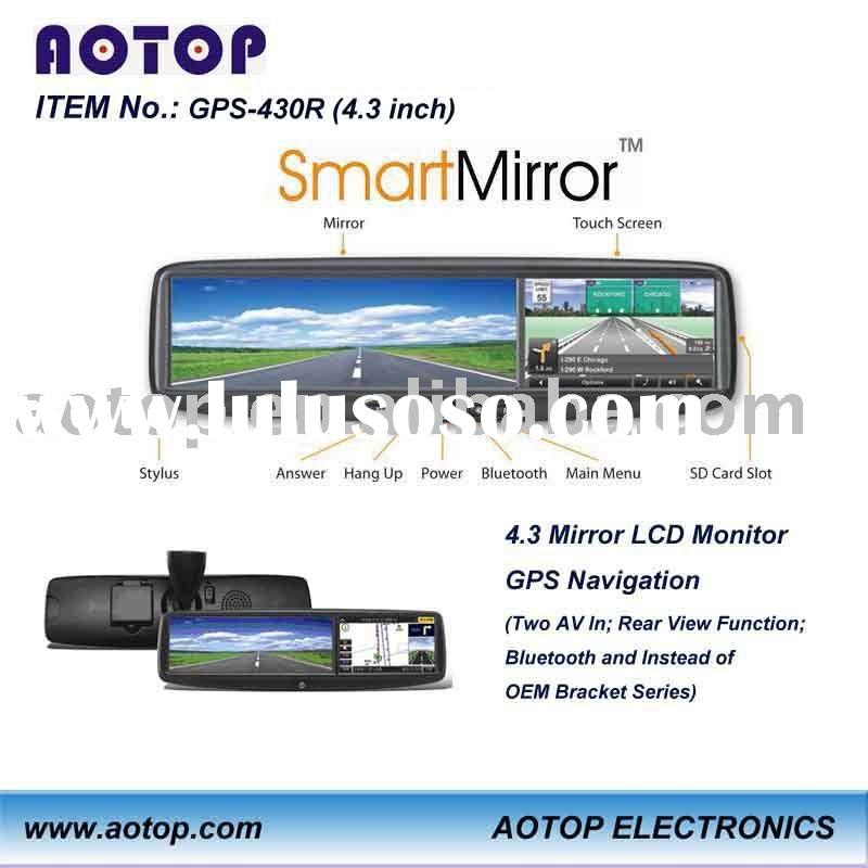 4.3 inch rear view mirror gps with bluetooth,av in,map