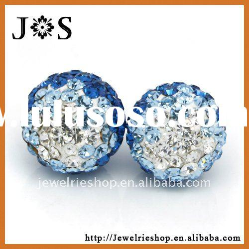 925 Sterling Silver Round Ball Pave Bead Crystal Stud Fashion Earring