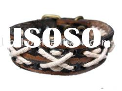 Braided Strap Leather Wristband with white cross cord L11