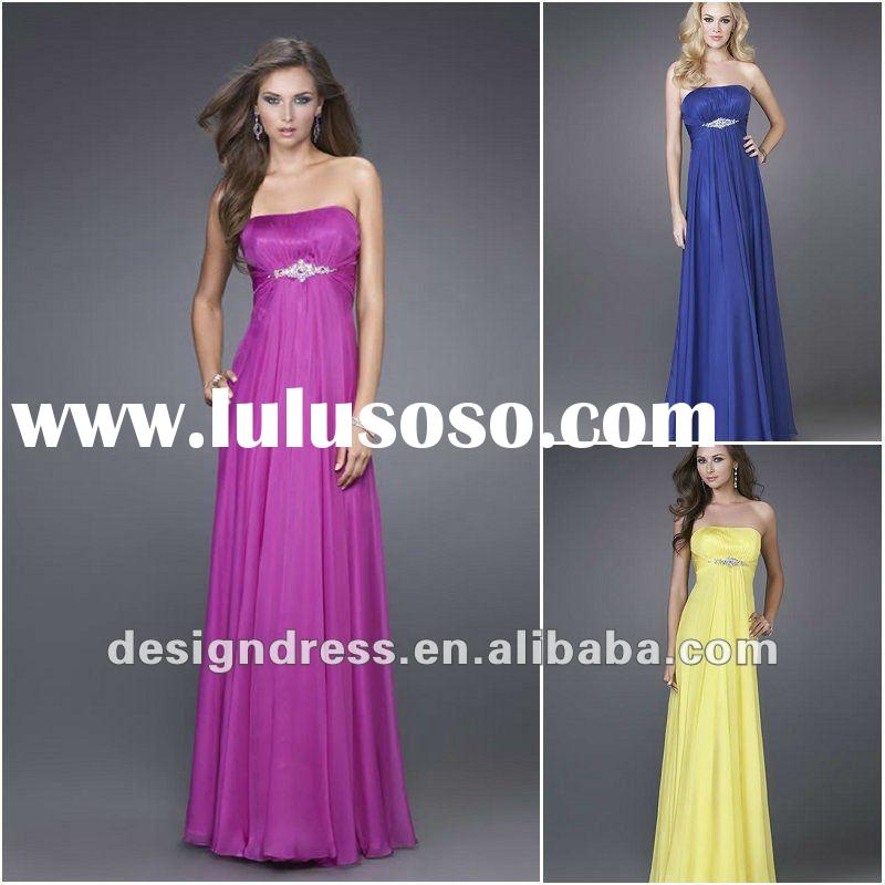 Charming and graceful full length strapless crystal chiffon evening dress by designers fashion 2012