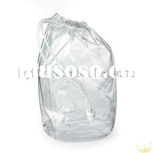 Clear PVC drawstring bag plastic with white more