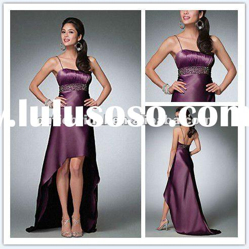 Dark Purple Prom Dress Short Front And Long Back Evening Dress AL029