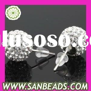 Fashion 925 Sterling Silver Pave Beads Crystal Stud Earring