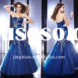 Gorgeous Royal Blue Mermaid Beaded Evening Dress with a fitted drop waist and a full skirt made of l