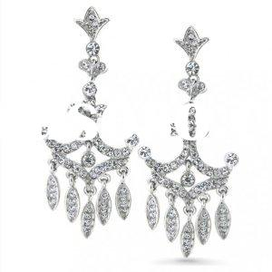 Jewelry Designer Inspired Crystal Pave Crown Chandelier Earrings