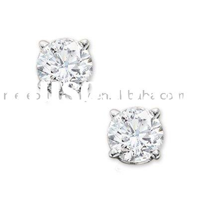 Princess Cut Diamond Solitaire Stud Earrings in 14K White Gold