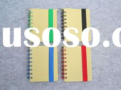 Spiral coil recycled paper mini notebook with pen