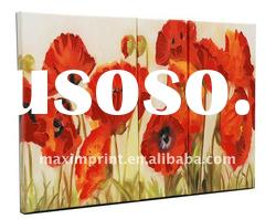 (oil painting set) Red poppy group printing Abstract Oil Painting Modern Art On Canvas Large Framed