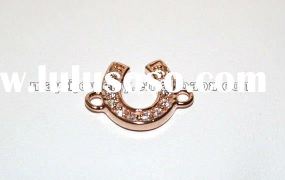 china factory jewelry Sterling Silver Sideways Rose Gold Horse Shoe Charm Connector with CZ'
