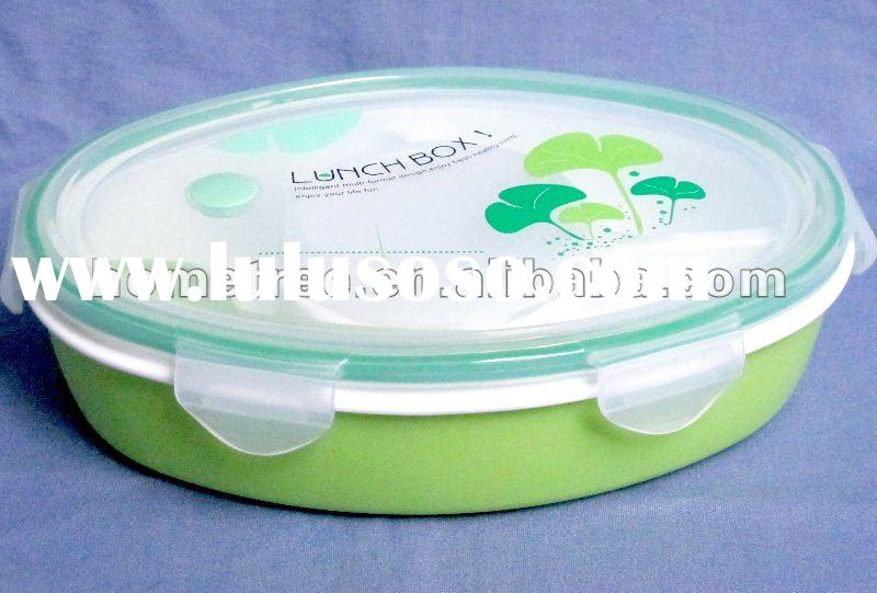 oval airtight lunch box,silicone lunch box,sealed lunch box 4 in 1