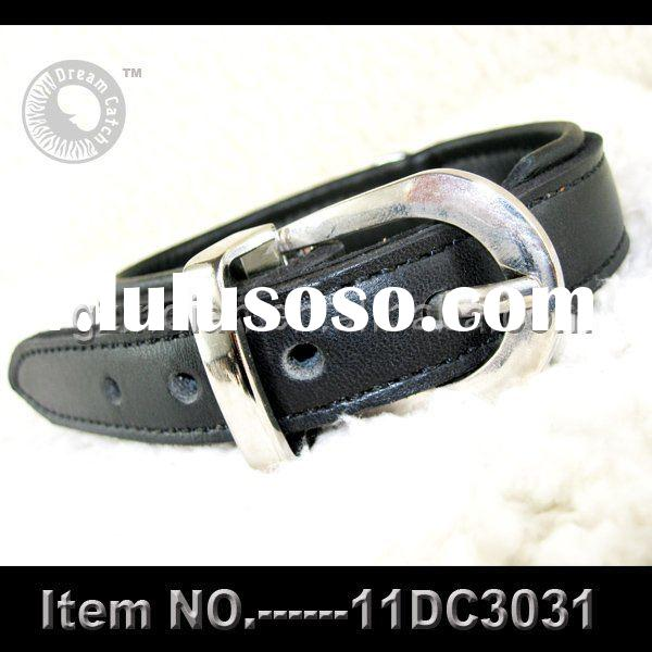 pet black real leather collar
