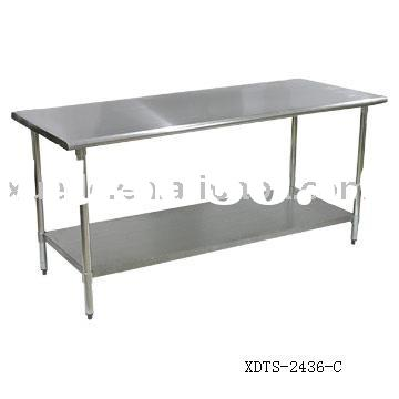 stainless steel kitchen table with under shelf