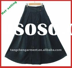 100% cotton women denim wholesale long skirts with hot selling