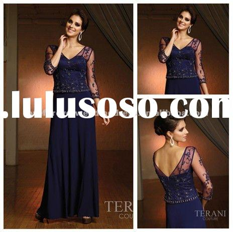 2012 Ankle Length Satin Lace Long Sleeve Evening Dress
