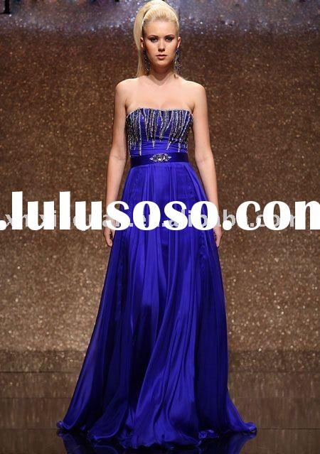ABE105 Strapless seuqined royal blue haute couture evening dress