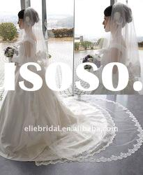 Beautiful lace edeg long cathedral wedding veil