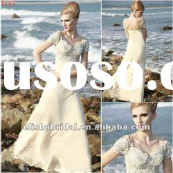 Champagne A-line Sweetheart Ankle-length Long Chiffon And Lace Evening Dresses Short Sleeve