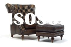 Luxury Antique American Style Genuine Leather Sofa Chair Design